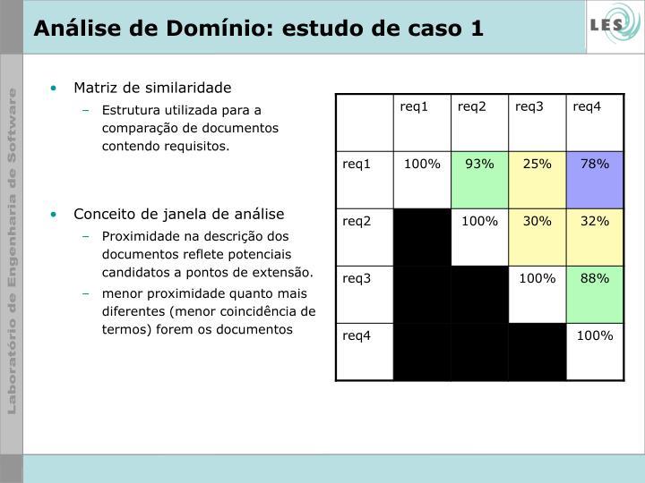 Análise de Domínio: estudo de caso 1