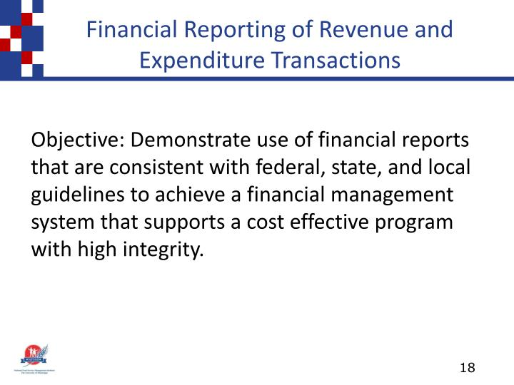 Financial Reporting of Revenue and Expenditure Transactions