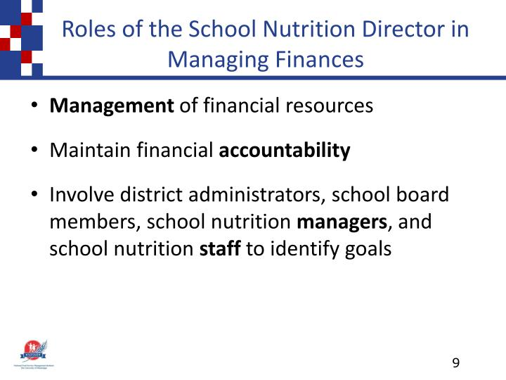 Roles of the School Nutrition Director in Managing Finances