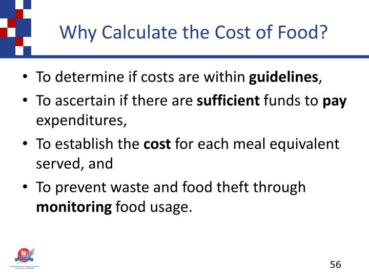 Why Calculate the Cost of Food?