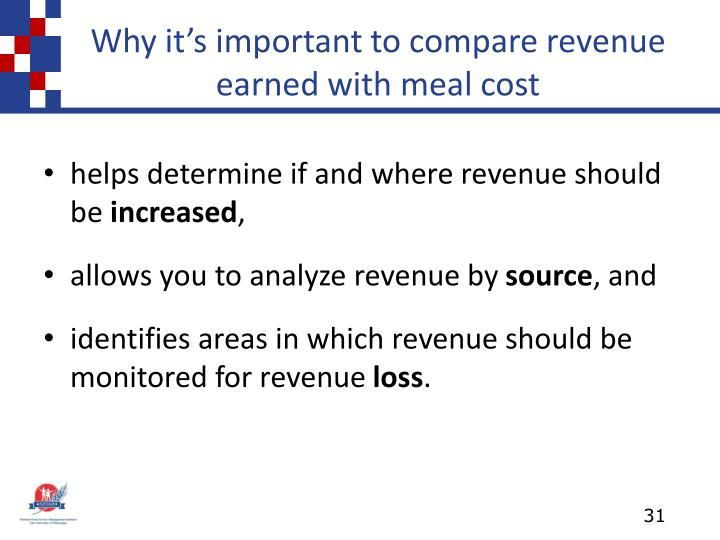 Why it's important to compare revenue earned with meal cost