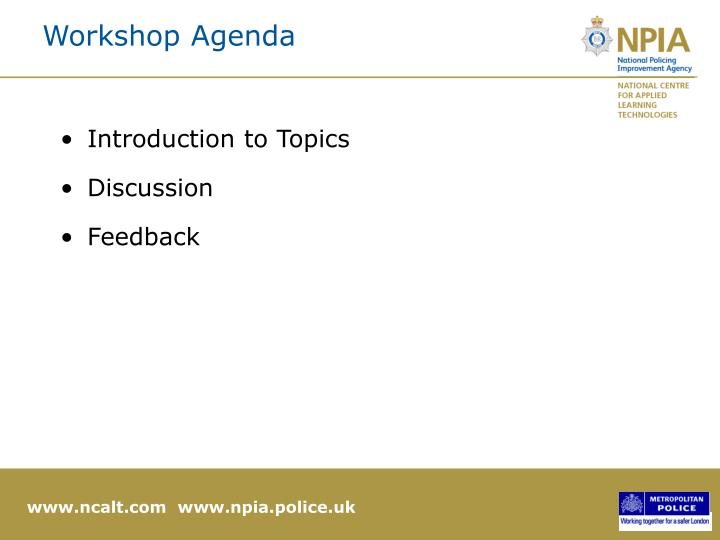 Workshop agenda