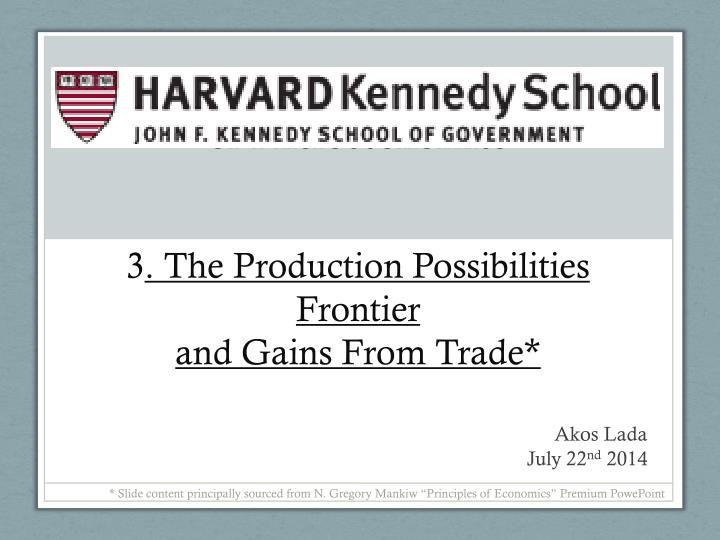 Of microeconomics 3 the production possibilities frontier and gains from trade
