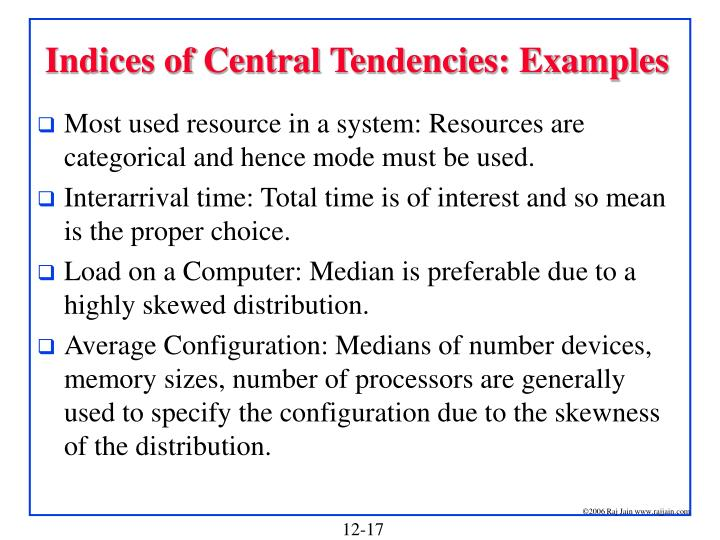 Indices of Central Tendencies: Examples
