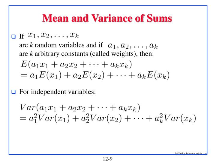 Mean and Variance of Sums