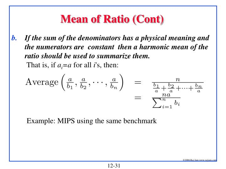 Mean of Ratio (Cont)