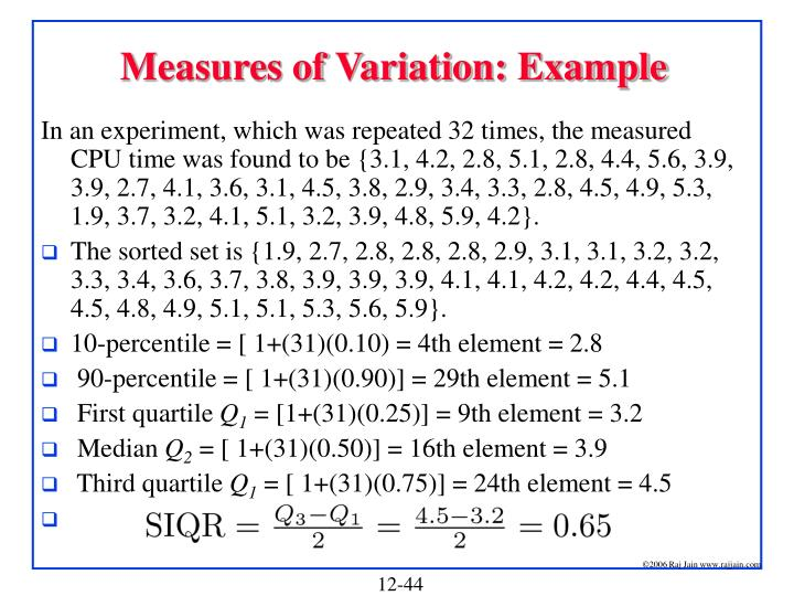 Measures of Variation: Example