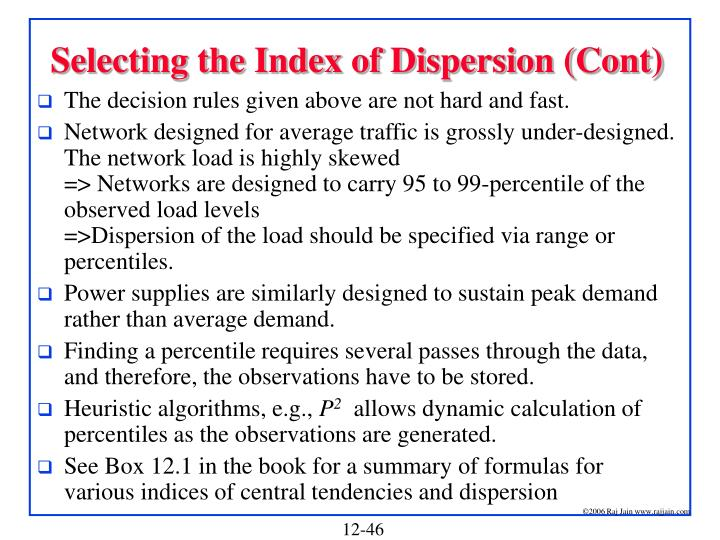 Selecting the Index of Dispersion (Cont)