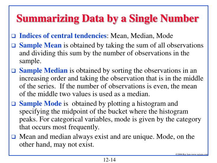 Summarizing Data by a Single Number