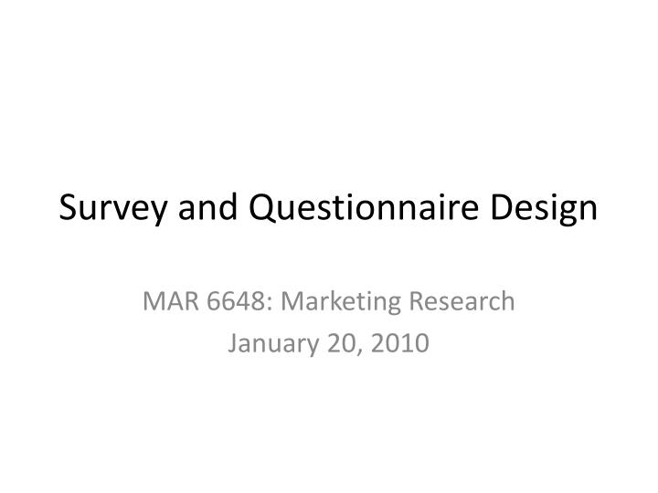 survey and questionnaire design