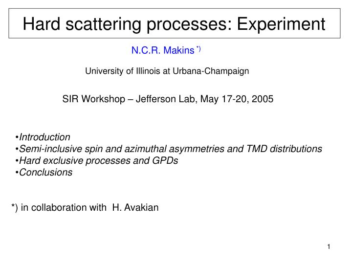 hard scattering processes experiment n.