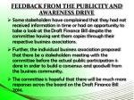 feedback from the publicity and awareness drive1