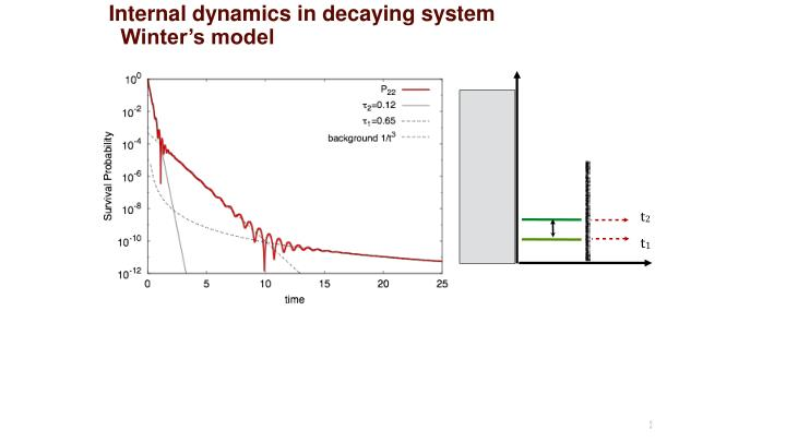 Internal dynamics in decaying system