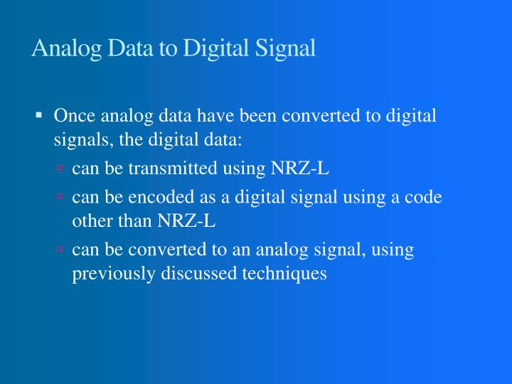 Analog Data to Digital Signal
