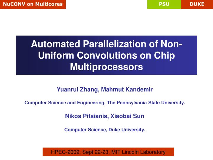 automated parallelization of non uniform convolutions on chip multiprocessors