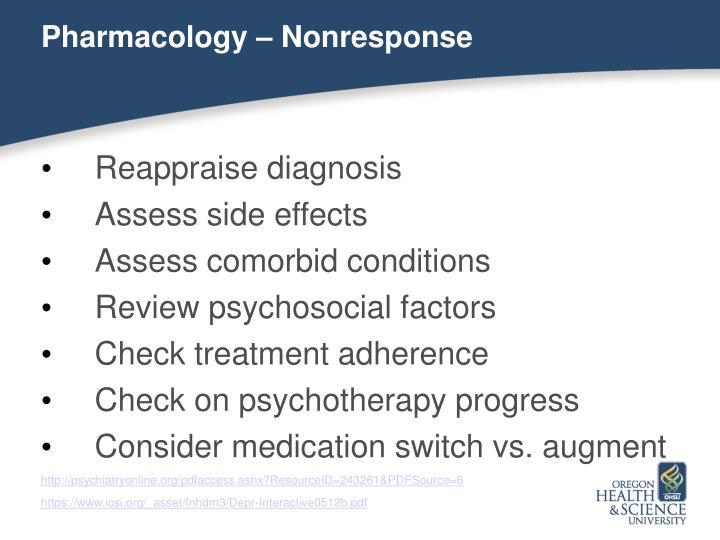 Pharmacology – Nonresponse