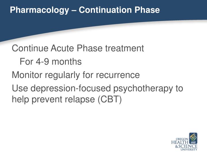 Pharmacology – Continuation Phase