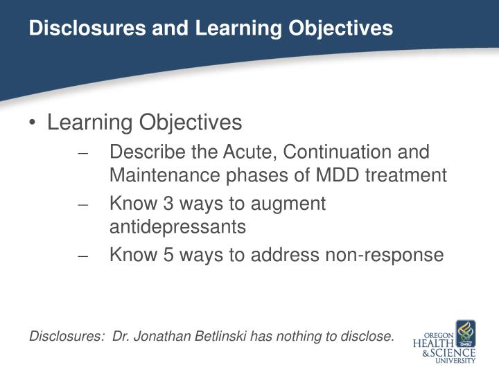 Disclosures and Learning Objectives
