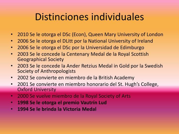 Distinciones individuales