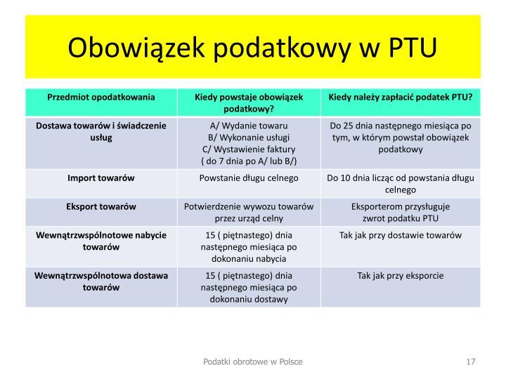 Obowiązek podatkowy w PTU
