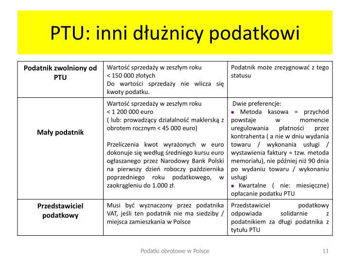 PTU: inni dłużnicy podatkowi
