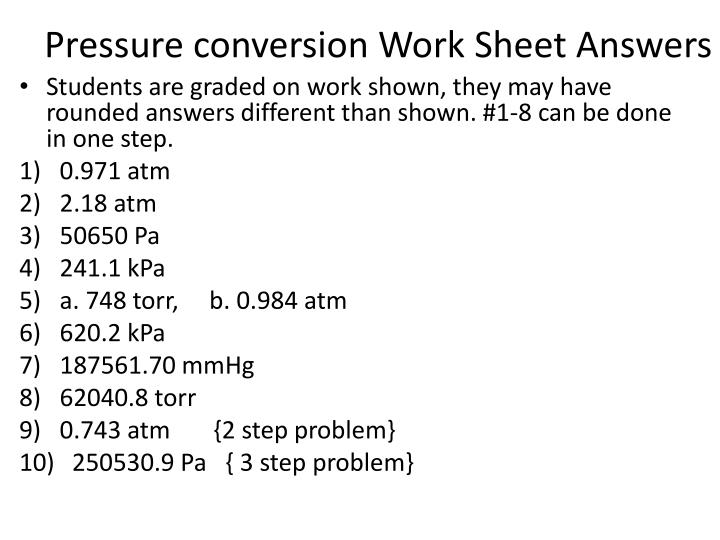 Chemistry Pressure Conversions Worksheet Energy Conversion