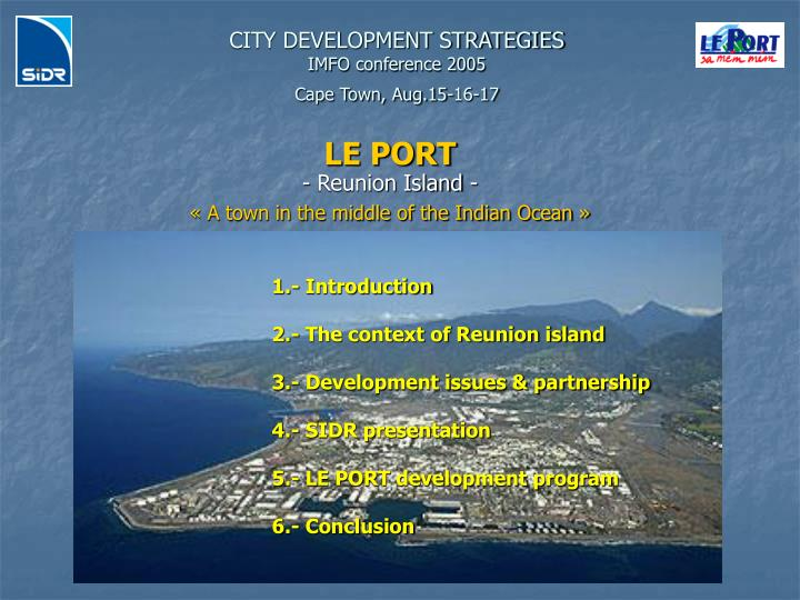 city development strategies imfo conference 2005 cape town aug 15 16 17 n.