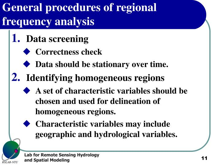 General procedures of regional frequency analysis