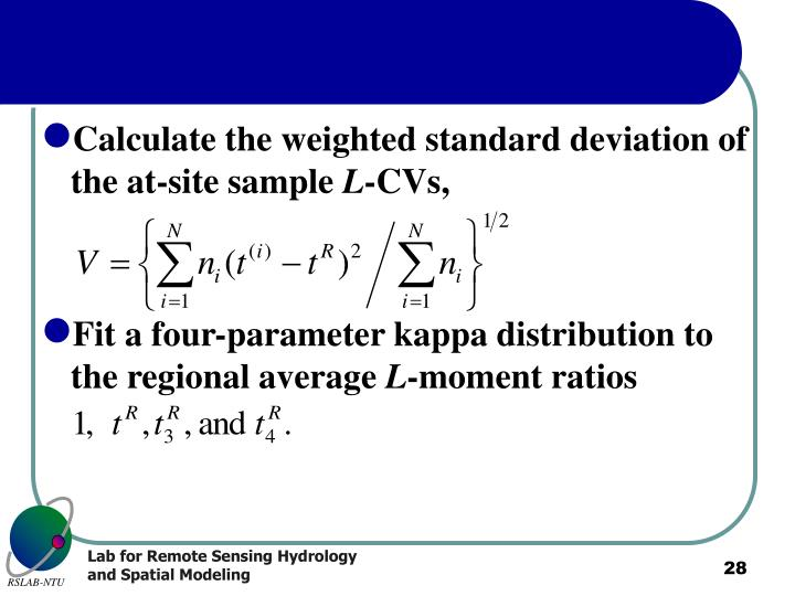 Calculate the weighted standard deviation of the at-site sample