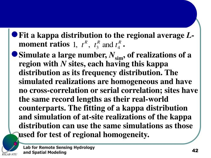 Fit a kappa distribution to the regional average