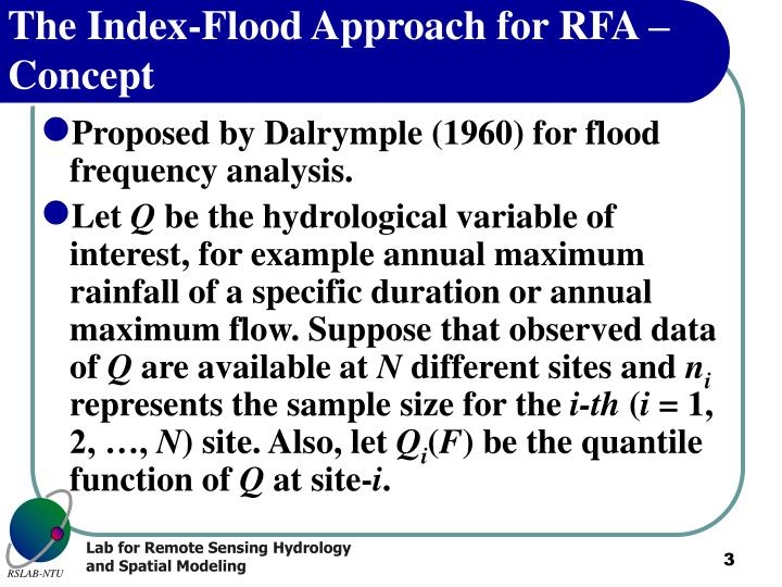 The index flood approach for rfa concept