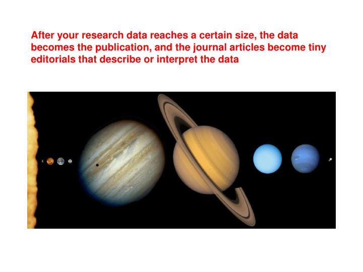After your research data reaches a certain size, the data becomes the publication, and the journal articles become tiny editorials that describe or interpret the data