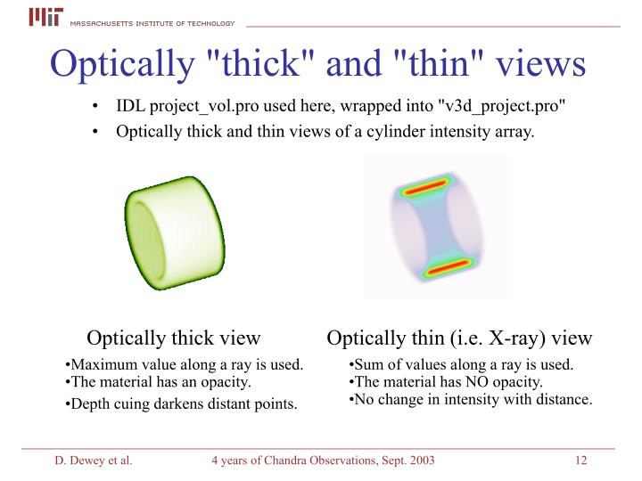 """Optically """"thick"""" and """"thin"""" views"""