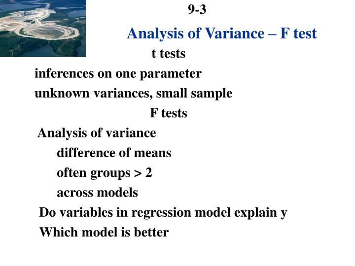 Analysis of variance f test