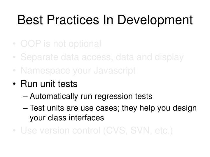 Best Practices In Development