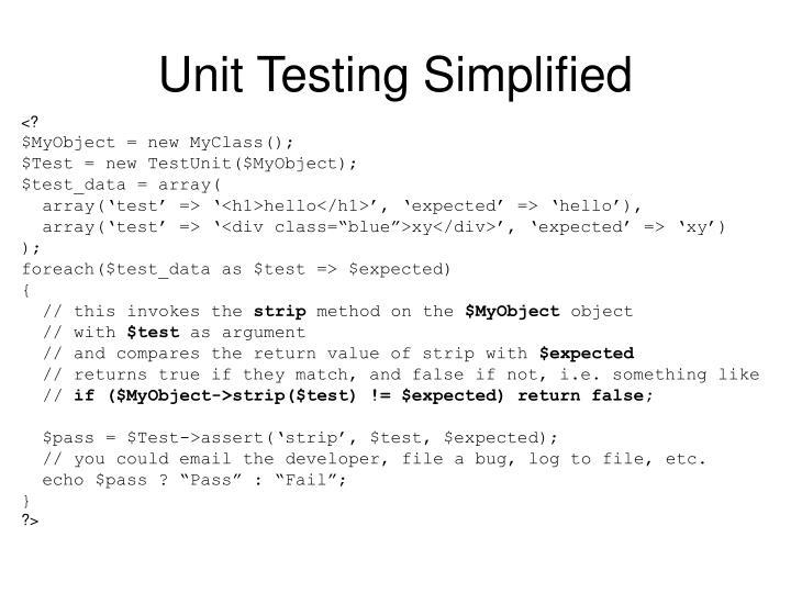 Unit Testing Simplified