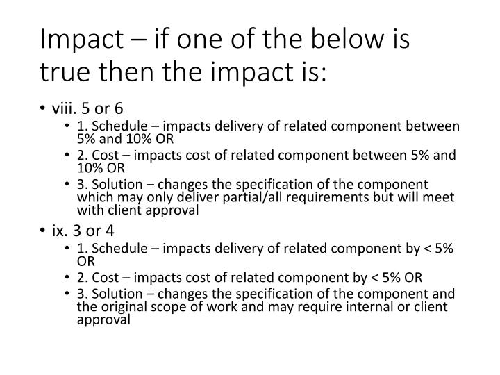 Impact – if one of the below is true then the impact is: