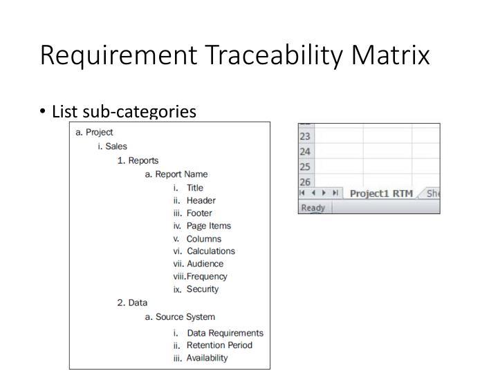 Requirement Traceability Matrix