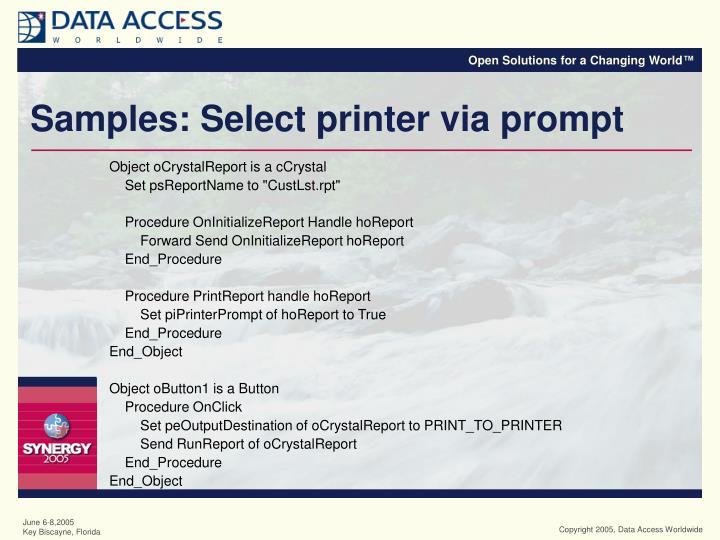 Samples: Select printer via prompt