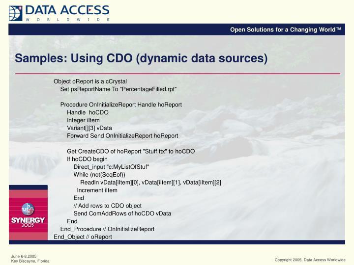 Samples: Using CDO (dynamic data sources)