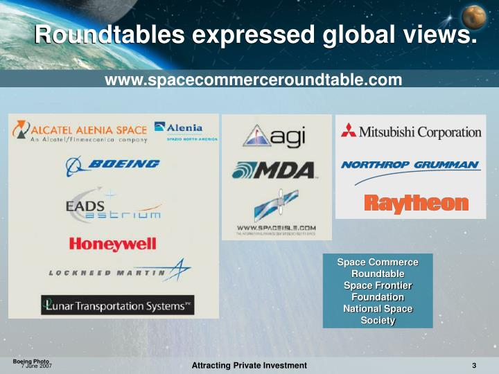 Roundtables expressed global views