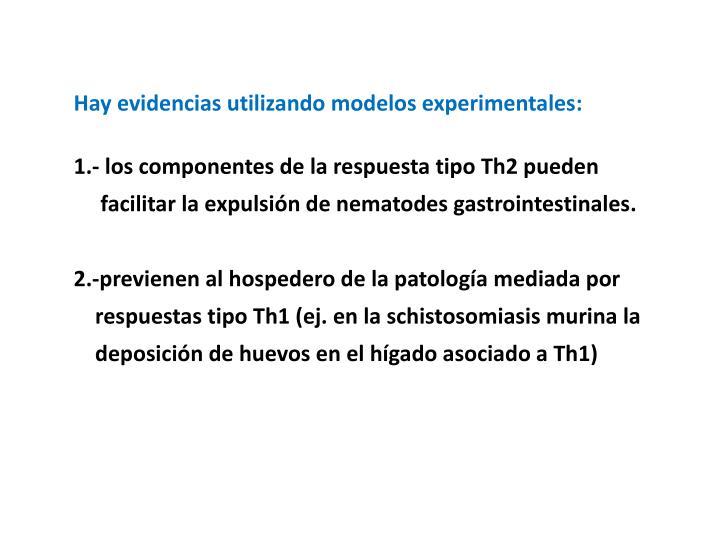 Hay evidencias utilizando modelos experimentales: