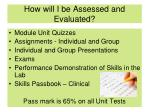 how will i be assessed and evaluated