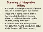 summary of interpretive writing