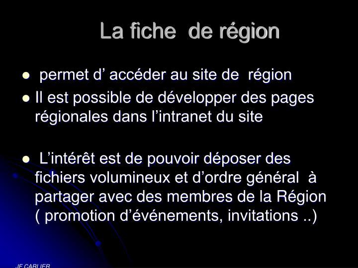 La fiche  de région