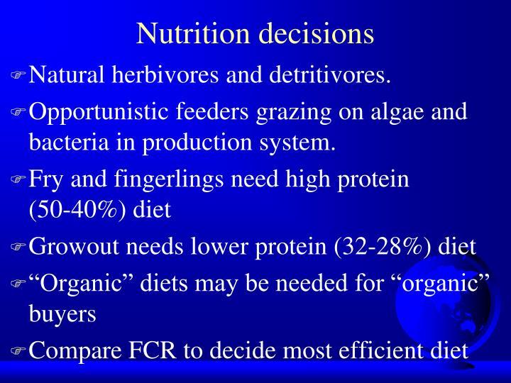 Nutrition decisions