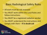 basic radiological safety rules