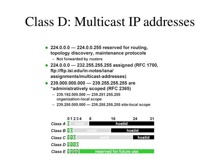 Class D: Multicast IP addresses