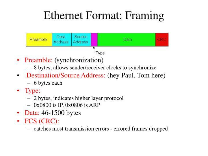 Ethernet Format: Framing