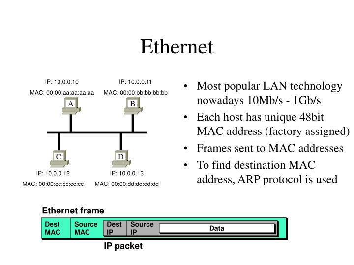 Most popular LAN technology nowadays 10Mb/s - 1Gb/s